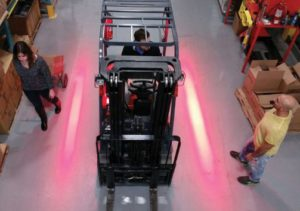 red zone forklift safety light